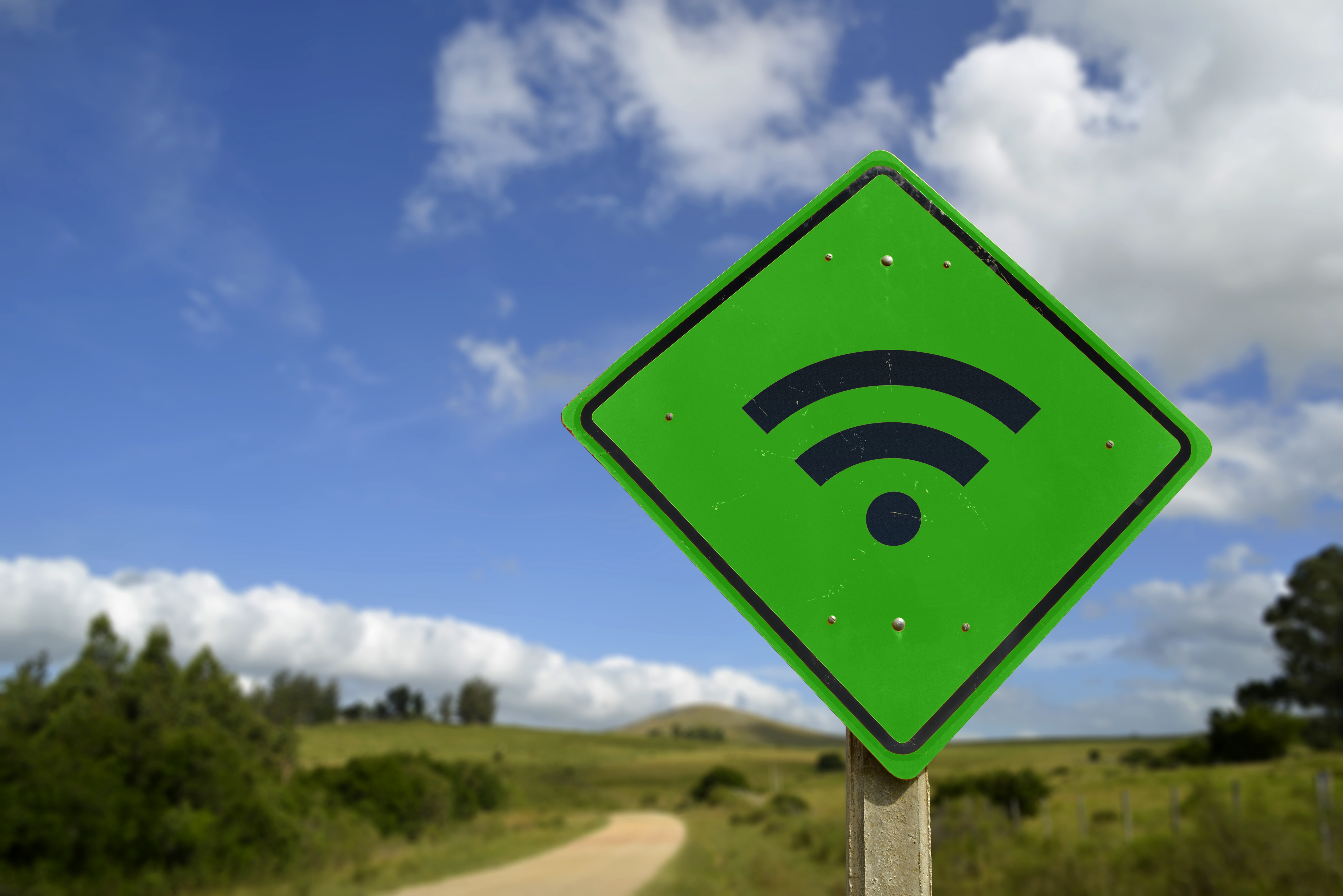 Green Wifi access road sign concept in rural area-1